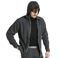 Hoodie Wool Original with full zip grey melange